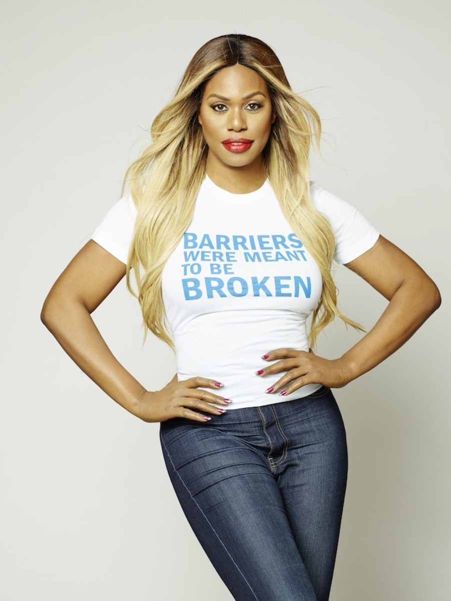 Laverne Cox in a Land of Distraction T-shirt. Photo: Ben Cope