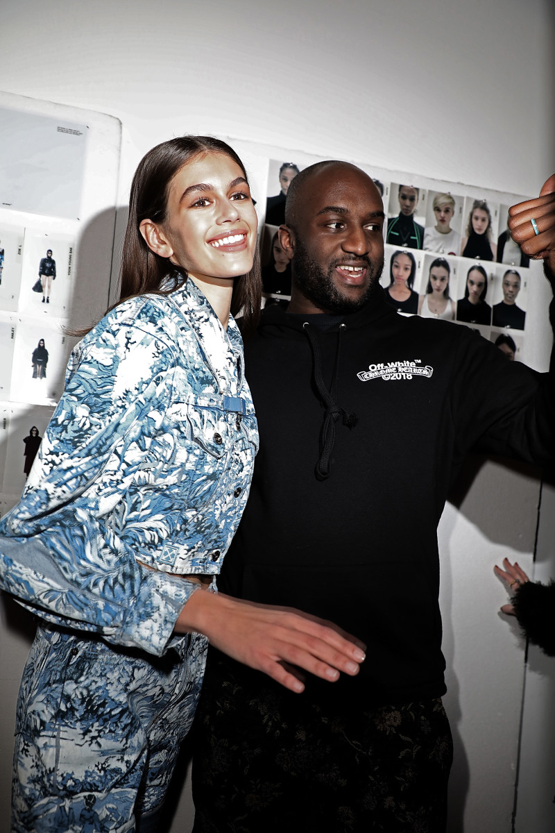 Kaia Gerber and Virgil Abloh backstage at Off-White's Fall 2018 runway show. Photo: Pierre Suu/Getty Images