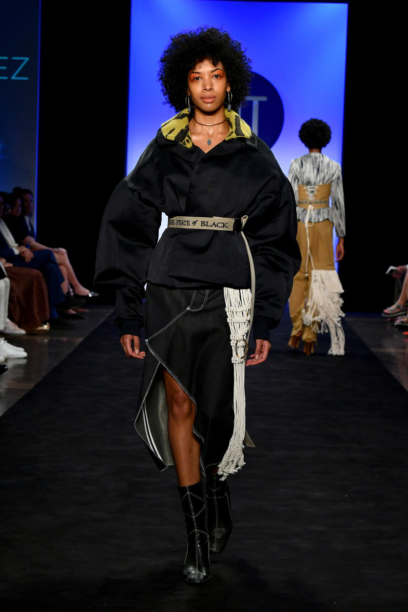 A look from FIT's 2018 Future of Fashion runway show. Photo: Steven Vlasic/Getty Images
