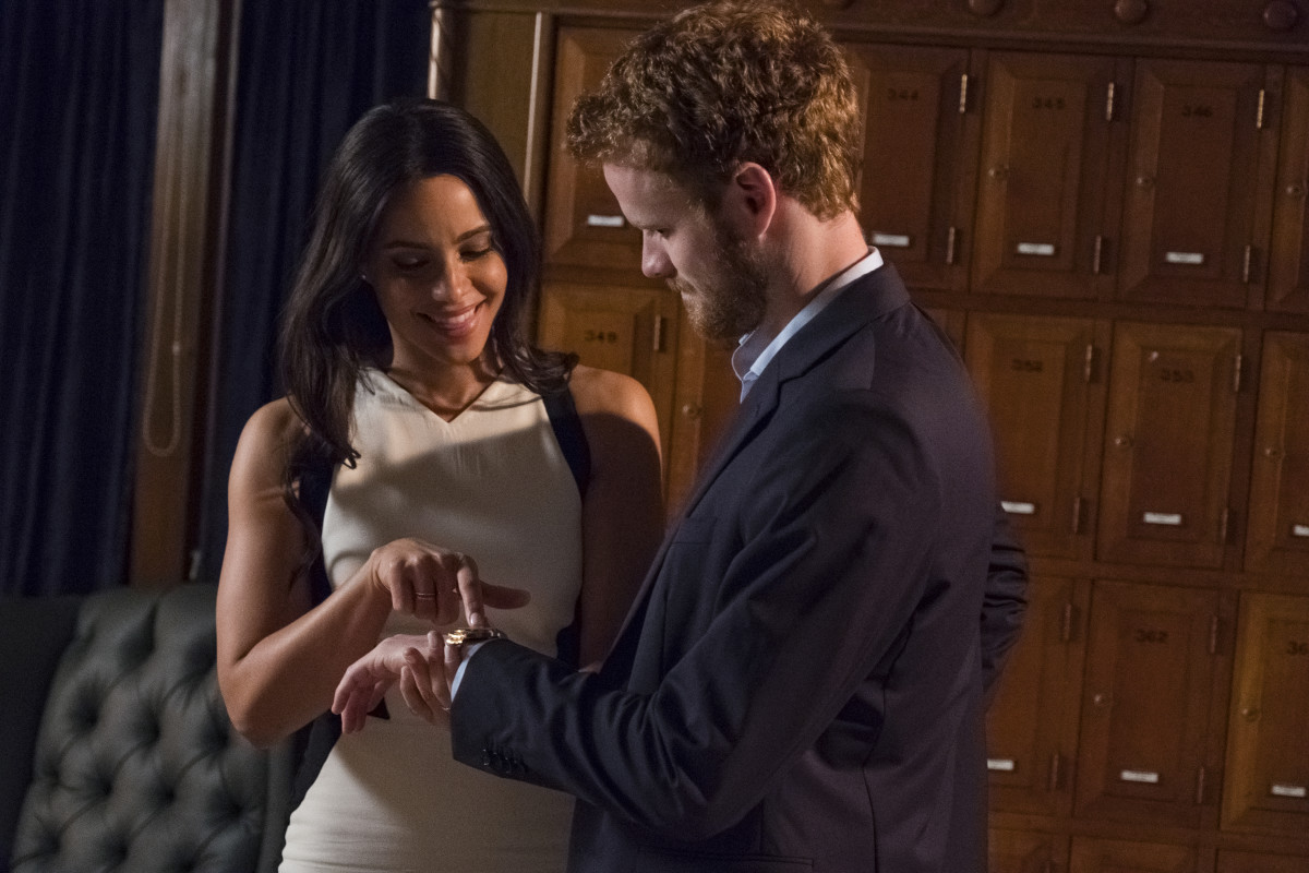 Meghan Markle (Parisa Fitz-Henley) and Prince Harry (Murray Fraser). Photo: Courtesy of Lifetime