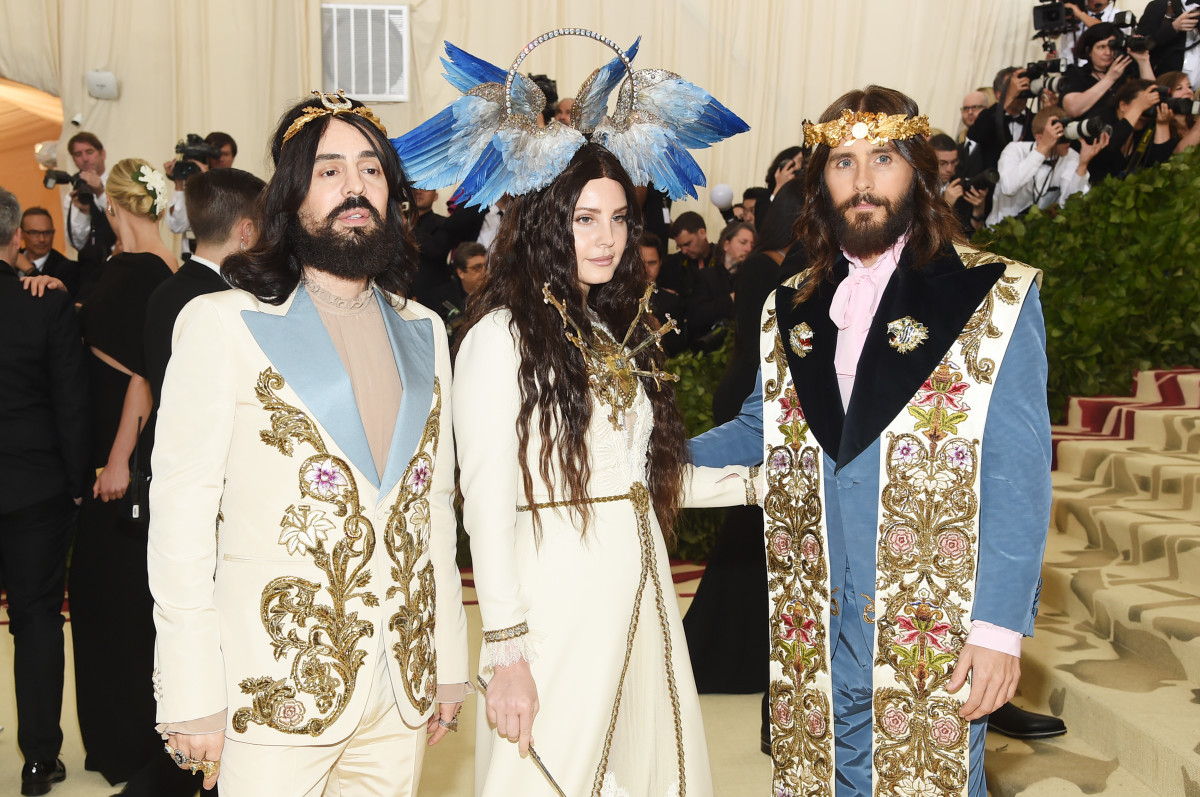 Alessandro Michele, Lana del Rey, Jared Leto at the 2018 Met Gala. Photo: Jamie McCarthy/Getty Images