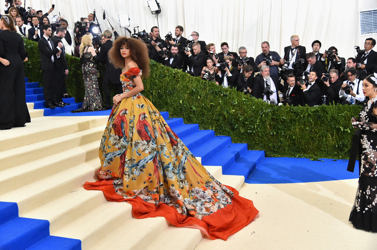 Zendaya in Dolce and Gabbanaon the 2017 Met Gala: Rei Kawakubo/Comme des Garcons: Art Of The In-Between red carpet. Photo: Mike Coppola/Getty Images for People.com