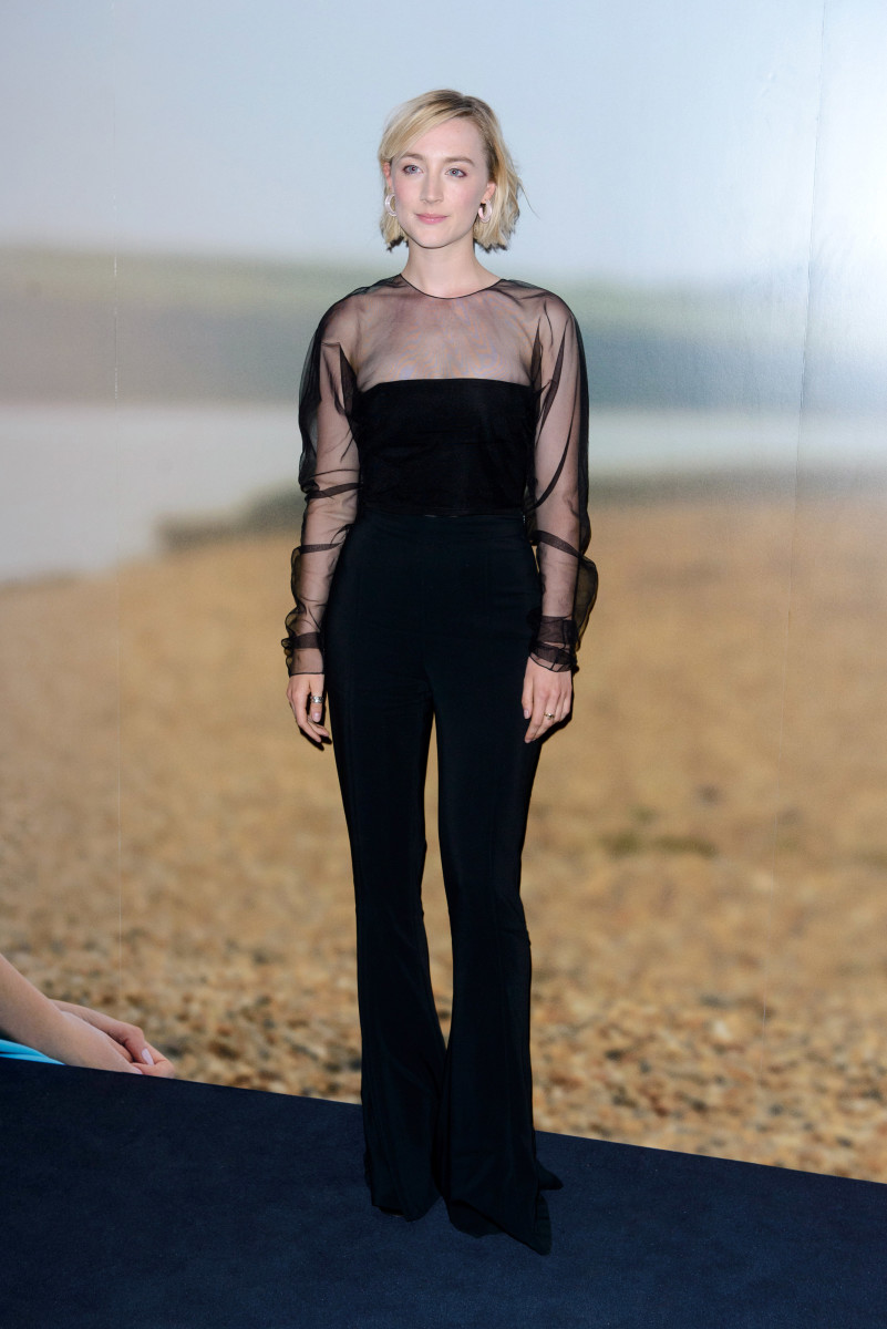 "Saoirse Ronan in Cushnie et Ochs at the ""On Chesil Beach"" screening in London on Tuesday. Photo: Joe Maher/Getty Images"