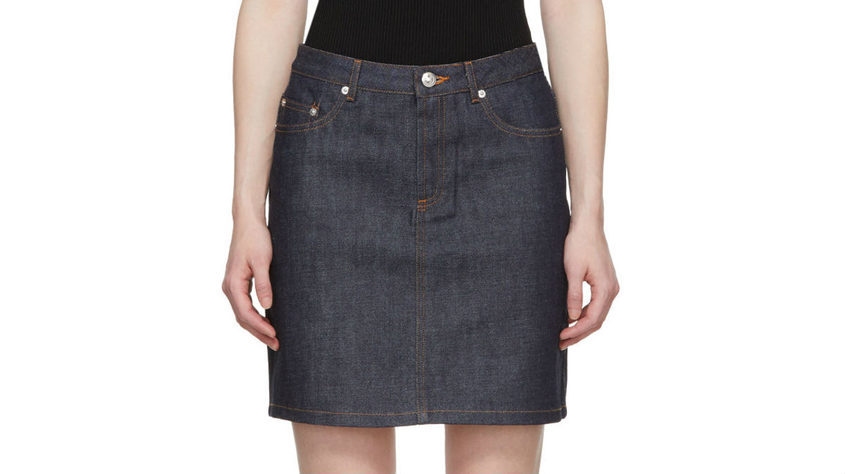 A.P.C. Indigo standard denim skirt, $135, available at Ssense or A.P.C.
