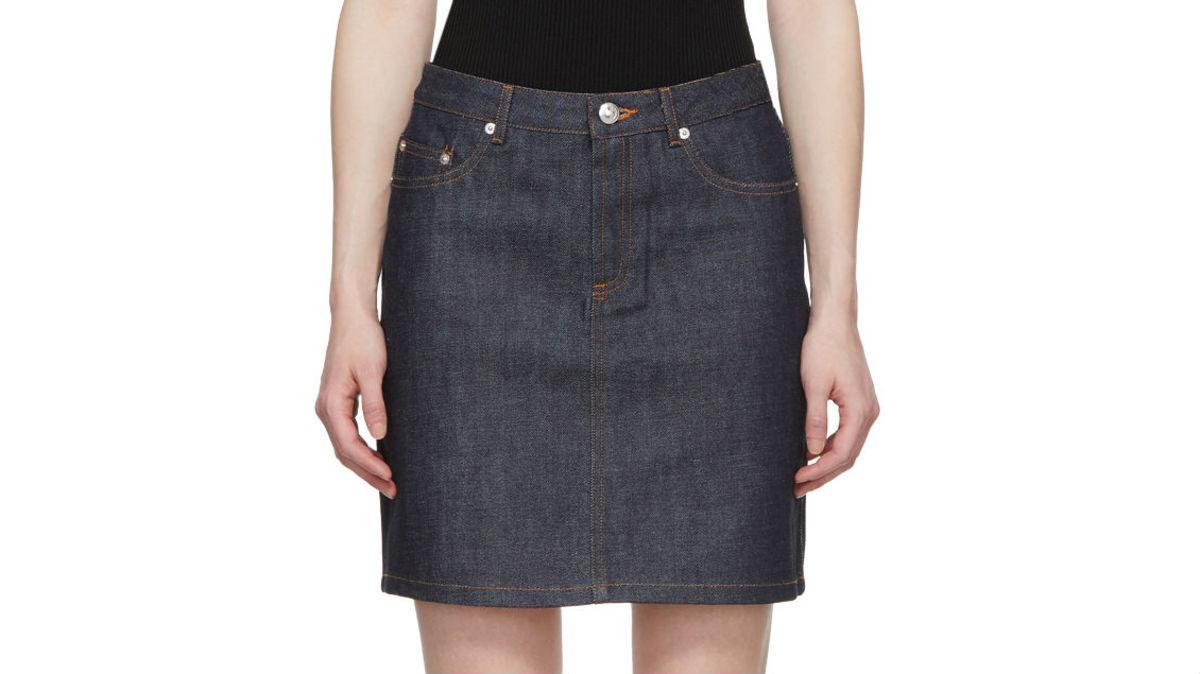 A.P.C. Indigo standard denim skirt, $135, available at Ssense or A.P.C.