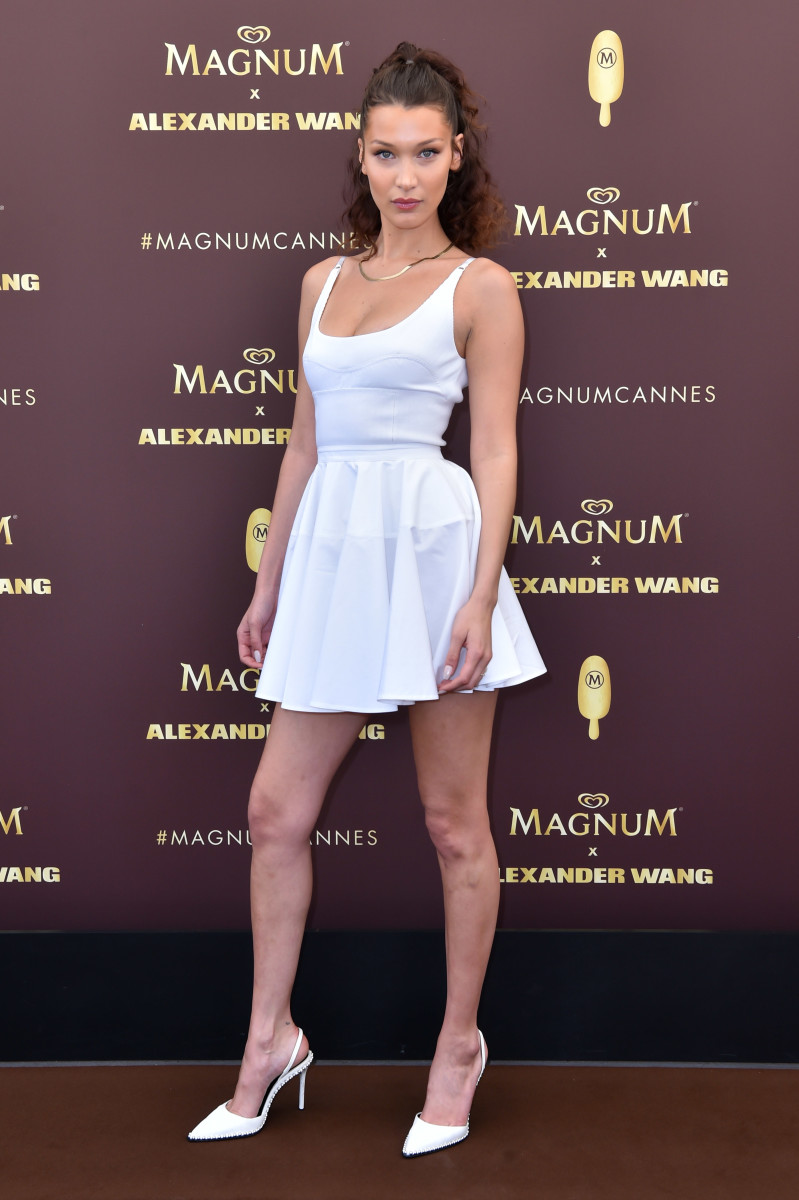 "Bella Hadid in an Alexander Wang outfit and shoes with an 8 Other Reasons ""Kim"" chain necklace. Photo: Magnum Ice Cream"
