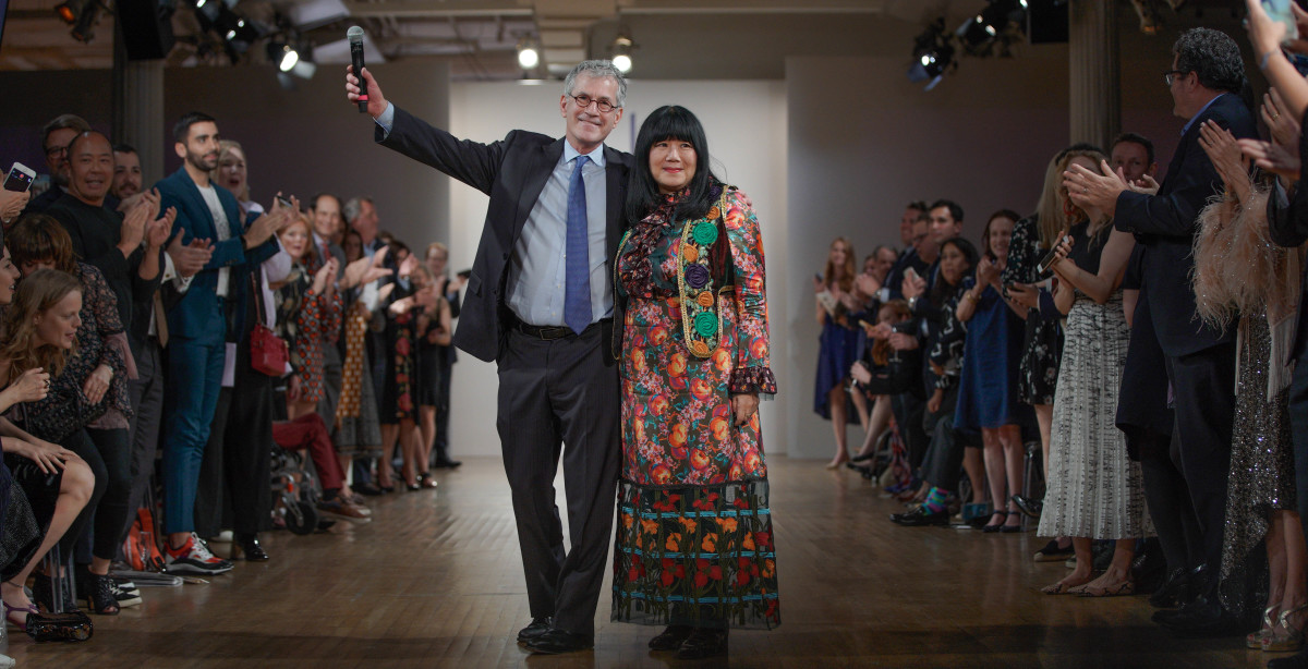 Richard Ellenson, CEO of the Cerebral Palsy Foundation, with designer Anna Sui. Photo: Richard Copier