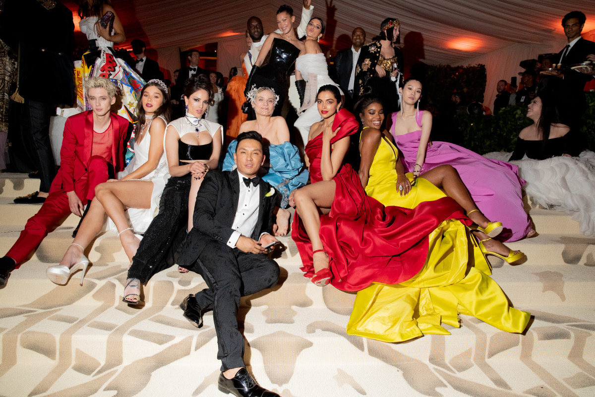 Prabal Gurung with celebrities in his custom gowns at the 2018 Met Gala. Photo: Kevin Tachman/Getty Images