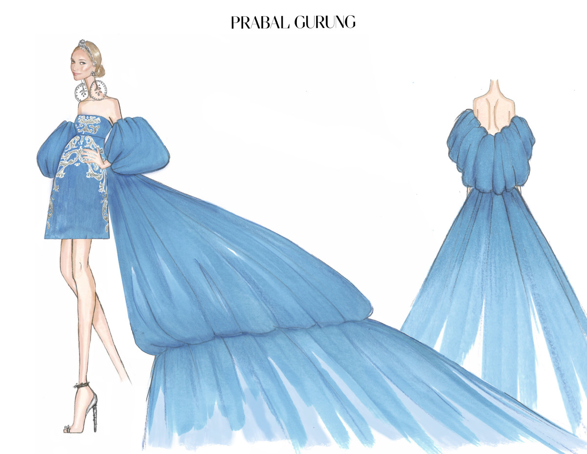 A sketch of Diane Kruger's 2018 Met Gala gown. Photo: Courtesy Prabal Gurung