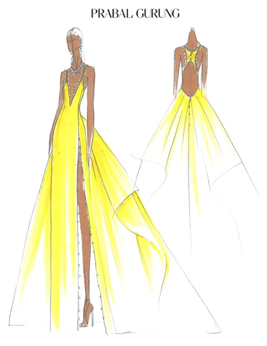 A sketch of Gabrielle Union's 2018 Met Gala gown. Photo: Courtesy Prabal Gurung