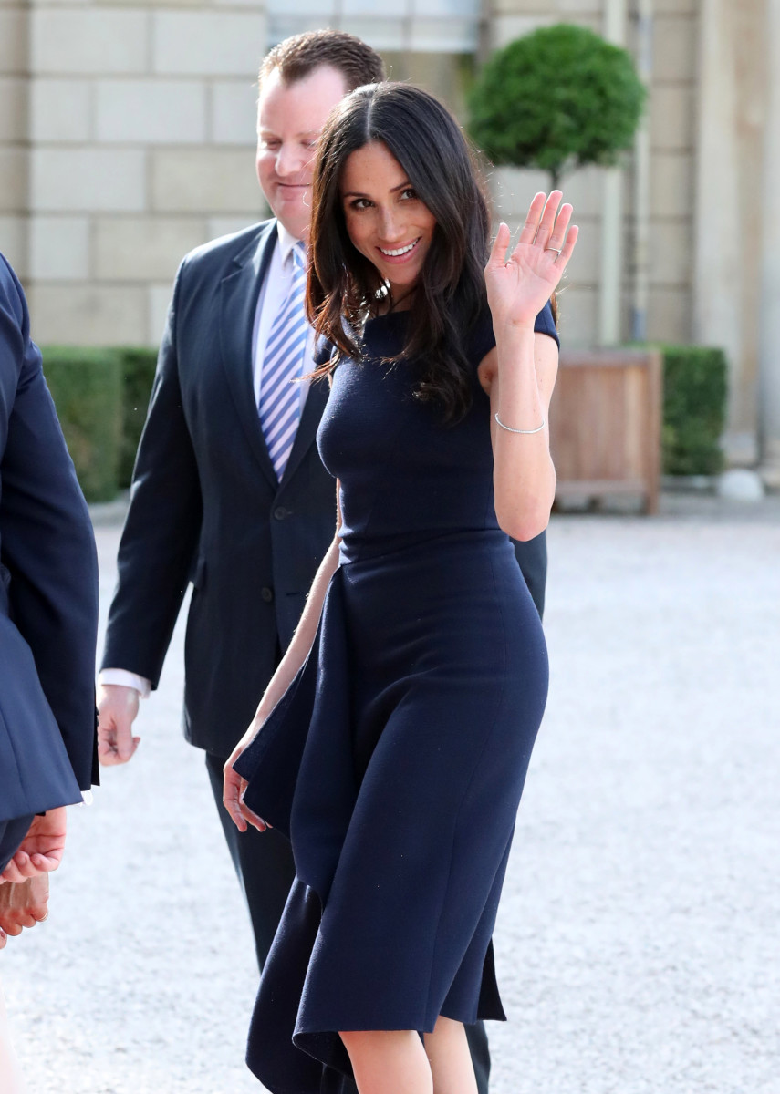 Meghan Markle in Roland Mouret at Cliveden House Hotel on Friday. Photo: Steve Parsons/AFP/Getty Images
