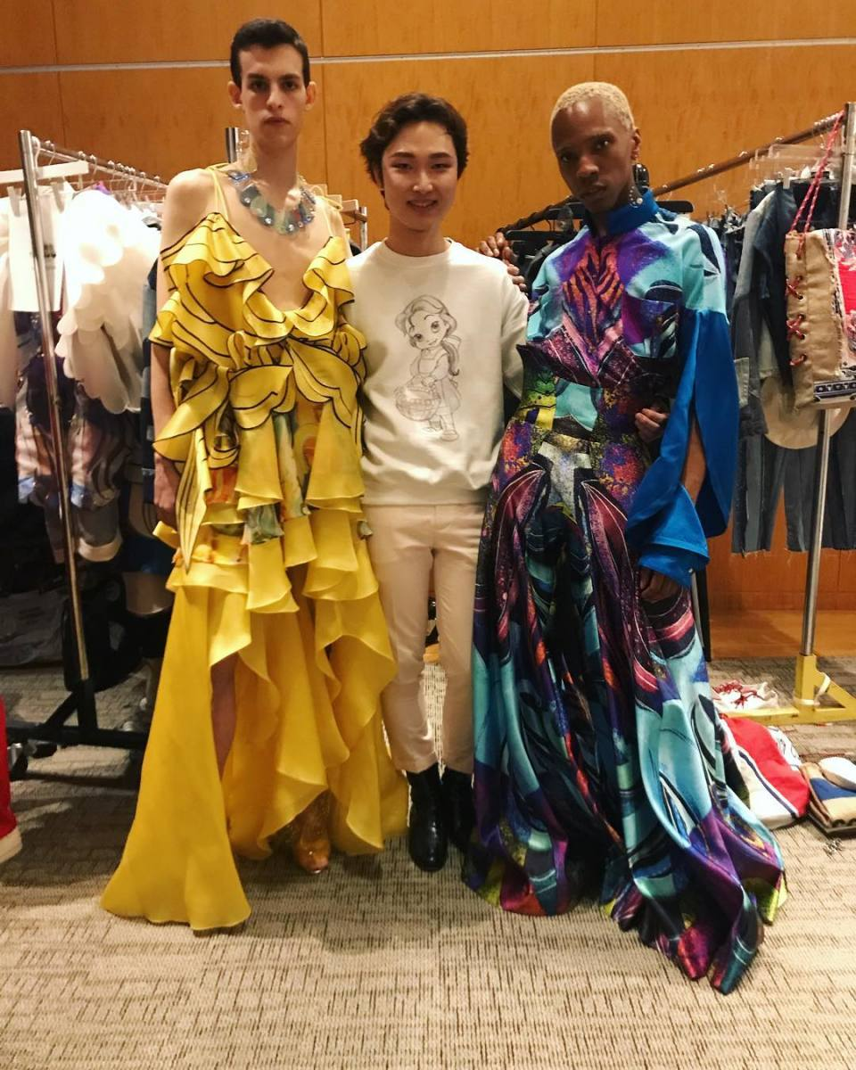 Subin Hahn with models in his designs. Photo: @parsons_fashion/Instagram