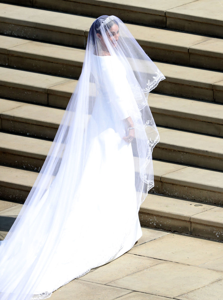 Meghan Markle in Givenchy at her wedding to Prince Harry at St George's Chapel, Windsor Castle in Windsor, England. Photo: Andrew Matthews - WPA Pool/Getty Images