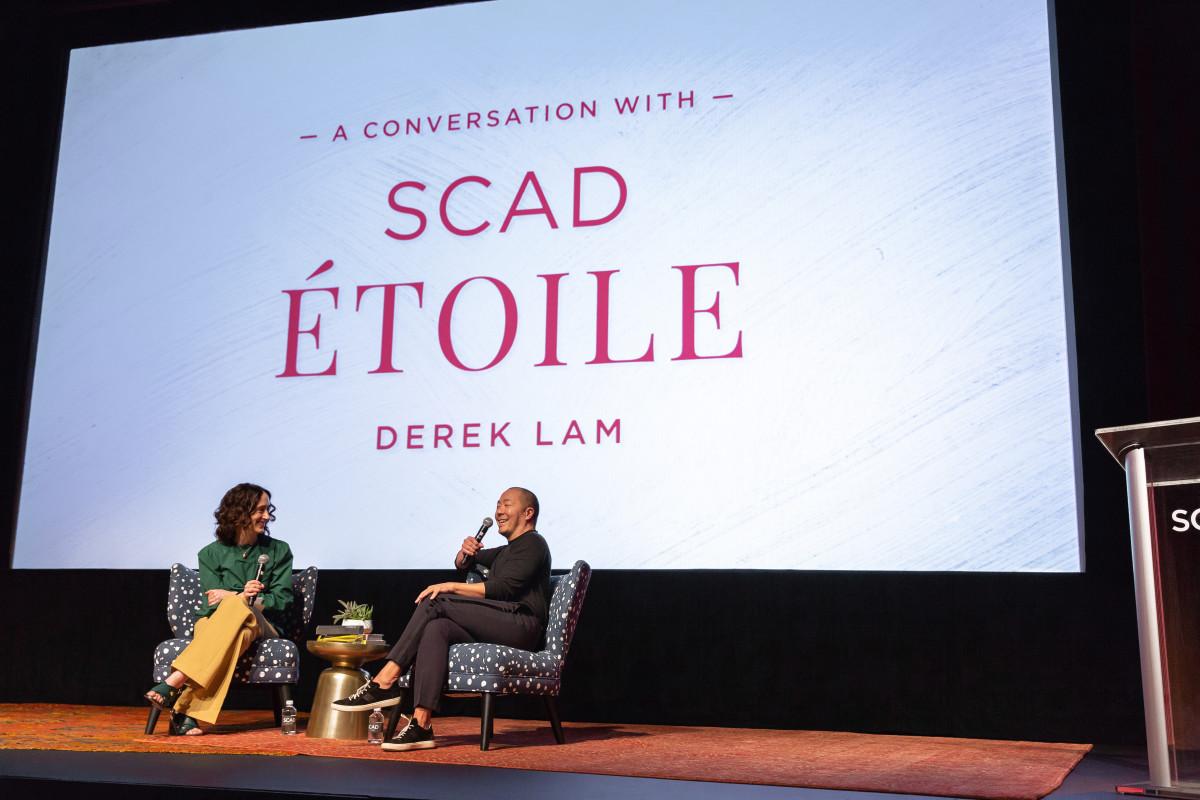 """Vogue"" Runway's Nicole Phelps in conversation with designer Derek Lam. Photo: Courtesy of SCAD"