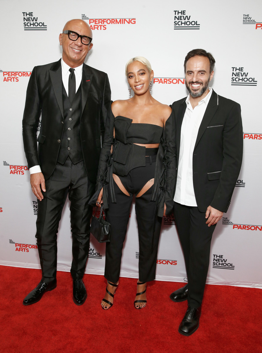 Honorees Marco Bizzarri, Solange Knowles and José Neves at the 70th Annual Parsons Benefit. Photo: Brian Ach/Getty Images for The New School