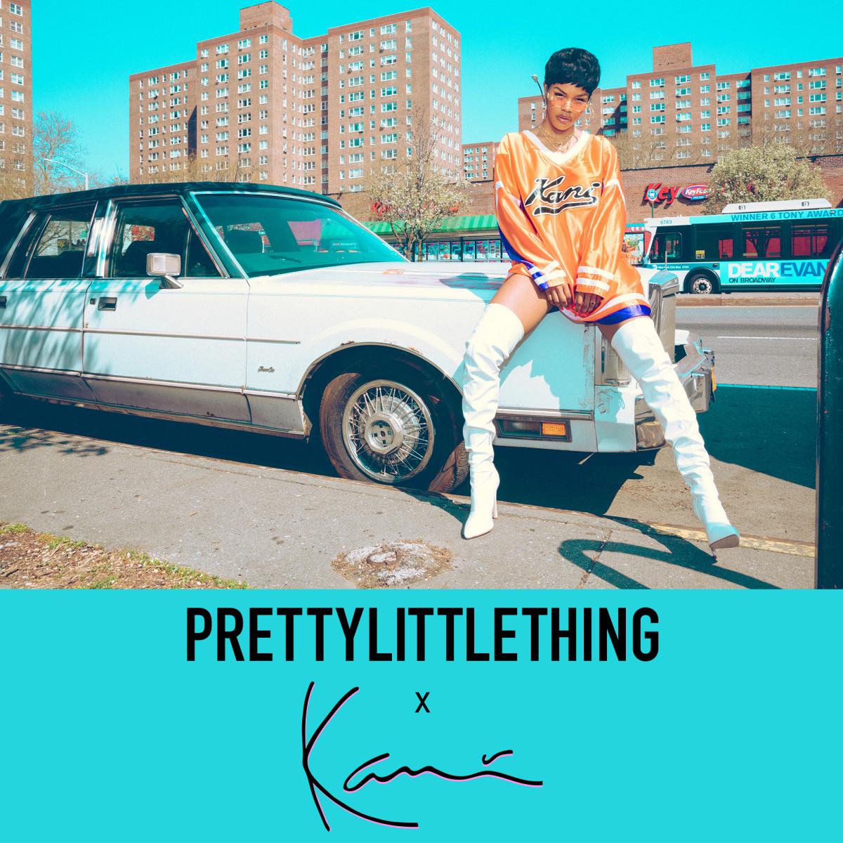 Teyana Taylor for PrettyLittleThing x Karl Kani. Photo:PrettyLittleThing