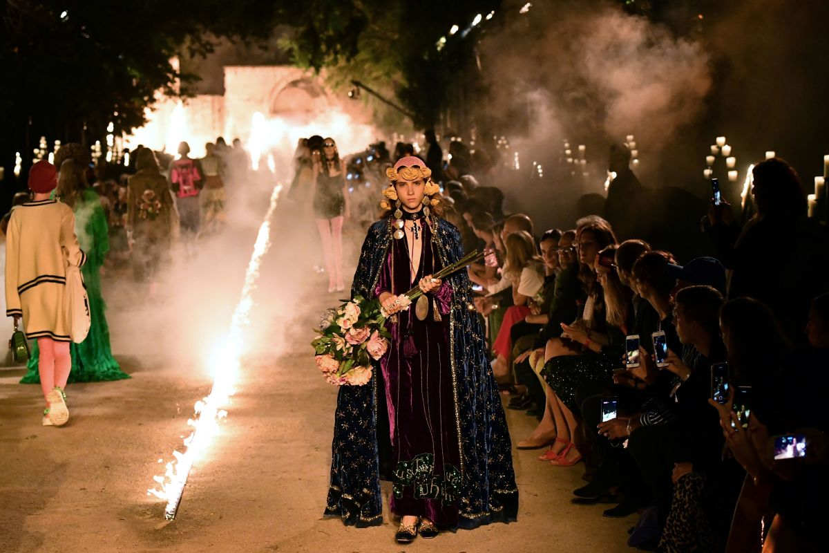 A look from Gucci's Cruise 2019 collection. Photo: Bertrand Langlois/AFP/Getty Images