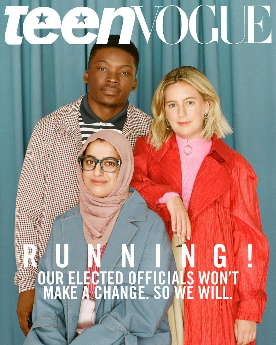 "Hadiya Afzal, Ja'Mal Green, and Kat Kerwin on the latest issue of ""Teen Vogue."" Photo: Katie McCurdy"
