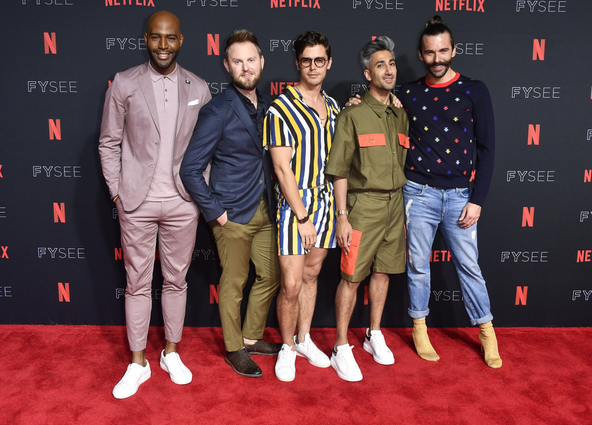 "Karamo Brown, Bobby Berk, Antoni Porowski, Tan France and Jonathan Van Ness at a Netflix event for ""Queer Eye"" in Los Angeles. Photo: Frazer Harrison/Getty Images"