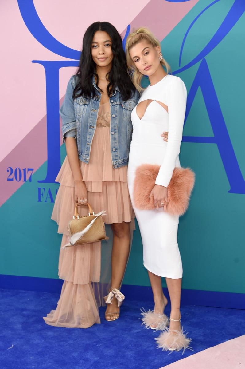 Aurora James attends the 2017 CFDA Awards with Hailey Baldwin. Photo: Jamie McCarthy/WireImage