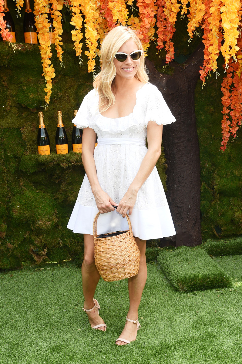 Sienna Miller in Valentino at Veuve Clicquot's 2018 Polo Classic in Jersey City, New Jersey. Photo: Jamie McCarthy/Getty Images for Veuve Clicquot