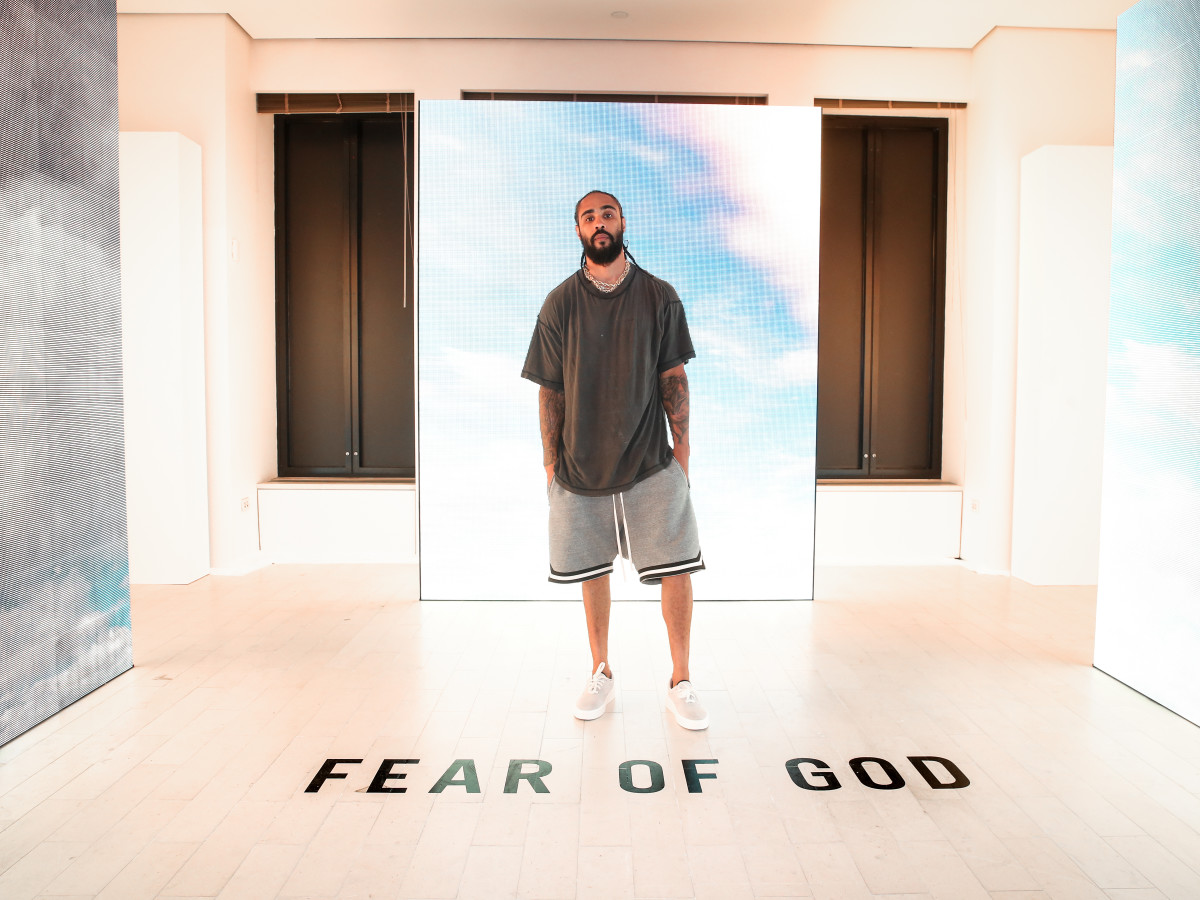 Jerry Lorenzo in the Fear of God installation. Photo: BFA for Barneys New York