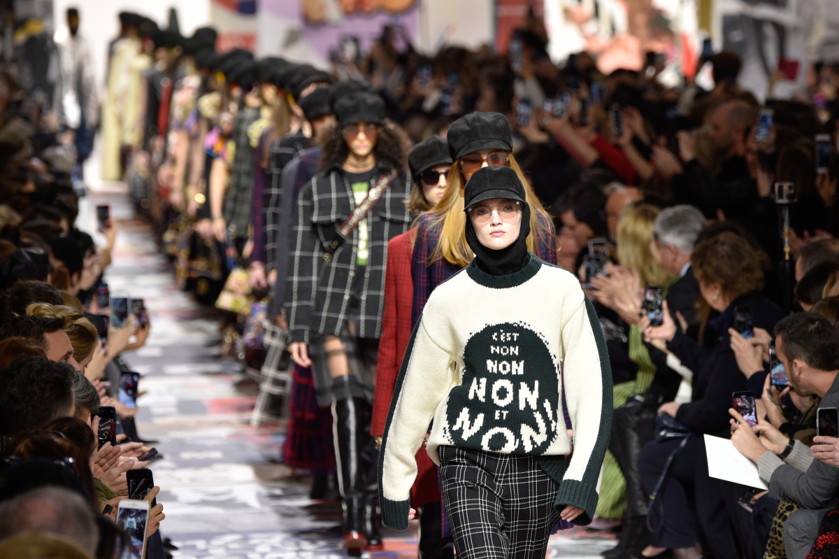 Christian Dior Fall 2018 runway. Photo: Peter White/Getty Images