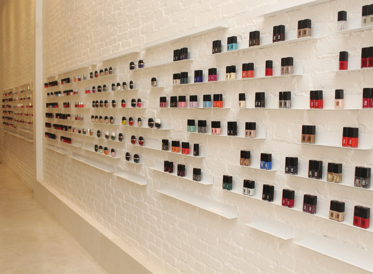 The nail polish wall at the Jin Soon Hand & Foot Spa in Tribeca. Photo: Courtesy of Jin Soon