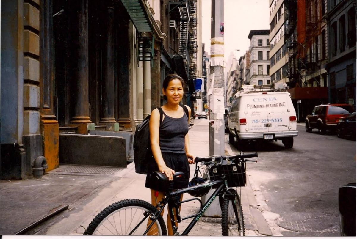 """Bicycle Jin"" in her early days of commuting to clients' homes. Photo: Courtesy of Jin Soon Choi"