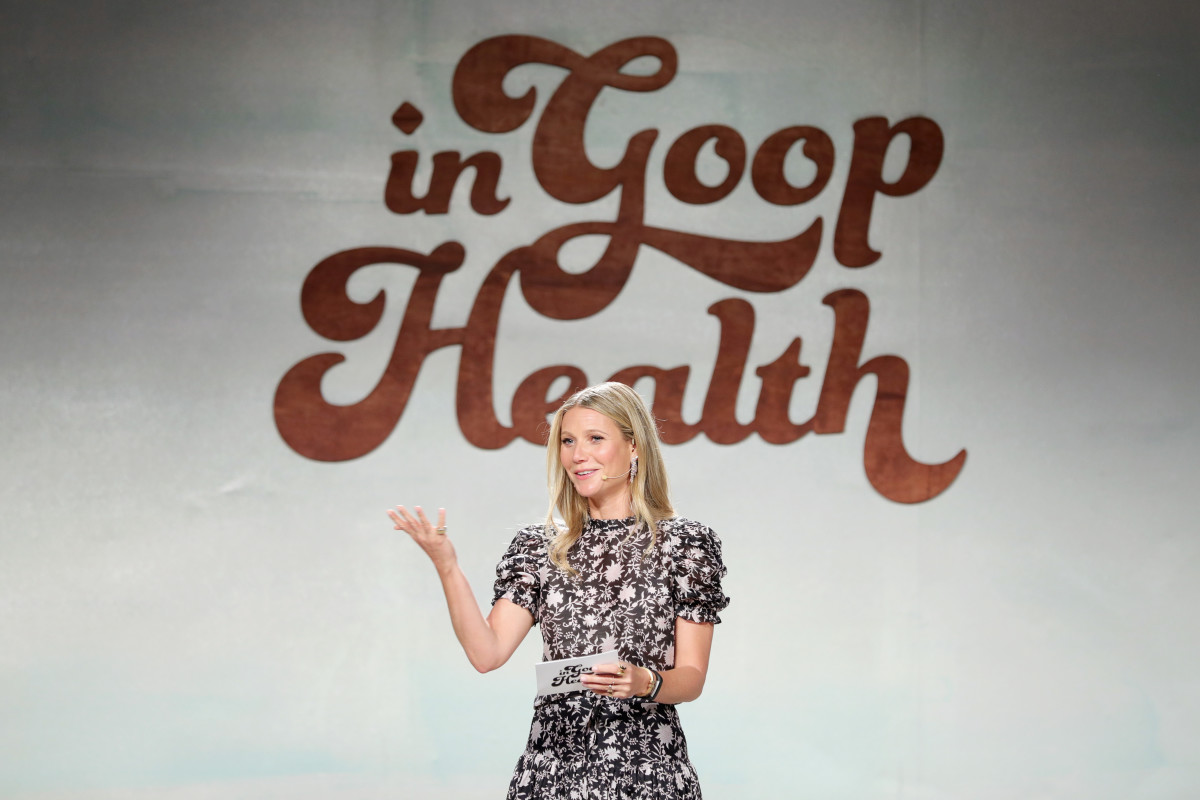"Gwyneth Paltrow speaks at the ""In Goop Health"" summit. Photo: Courtesy of Goop"