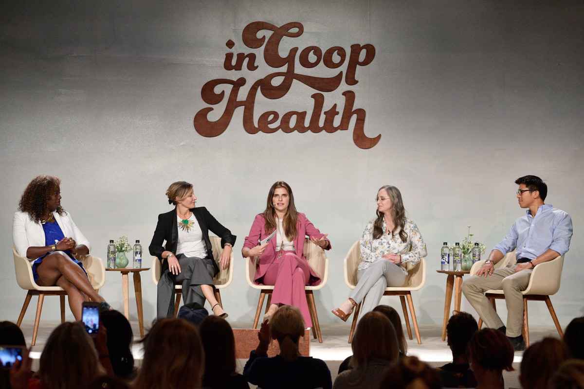Lake Bell moderates a panel on the cannabis industry. Photo: Courtesy of Goop