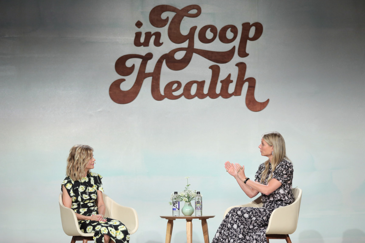"Gwyneth Paltrow talks to Meg Ryan a the ""In Goop Health"" summit. Photo: Courtesy of Goop"