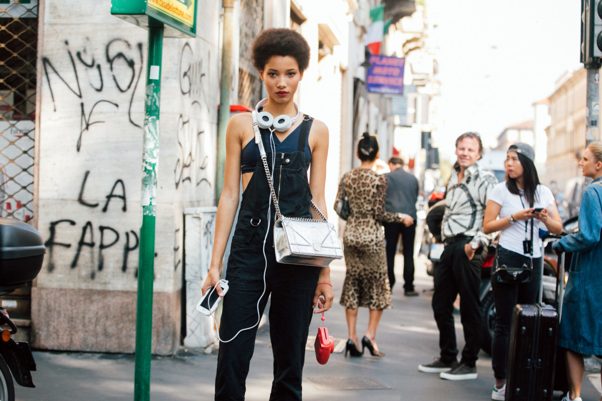 Lineisy Montero outside Dolce & Gabbana's Spring 2017 show during Milan Fashion Week. Photo: Melodie Jeng/Getty Images