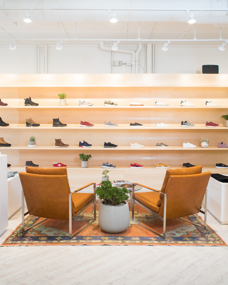 A look at August's shoe wall and sitting area. Photo: Courtesy of August