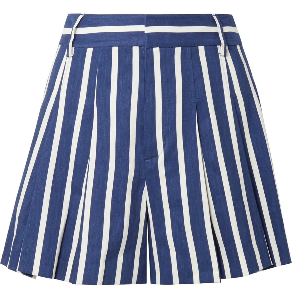 Alice + Olivia Scarlet Pleated Striped Linen-Blend Shorts, $265, available here.