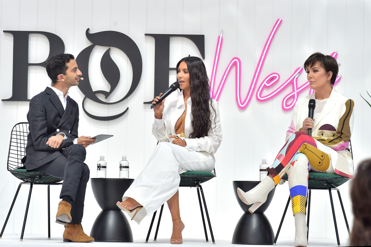 Imran Amed, Kim Kardashian and Kris Jenner at BoF West. Photo: Stefanie Keenan/Getty Images for The Business of Fashion
