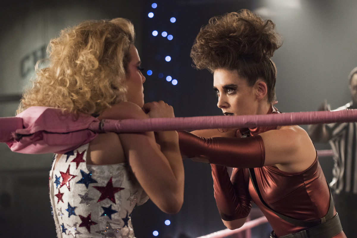 Liberty Belle (Gilpin) and Zoya (Brie) and lots of hairspray face off. Photo: Erica Parise/Netflix