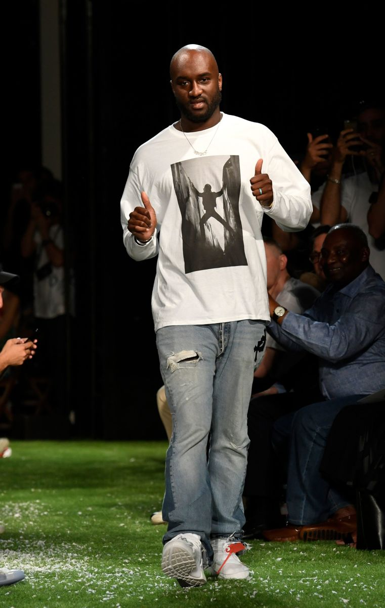 Virgil Abloh at Off-White's Spring 2019 men's show in Paris on Wednesday. Photo: Bertrand Guay/AFP
