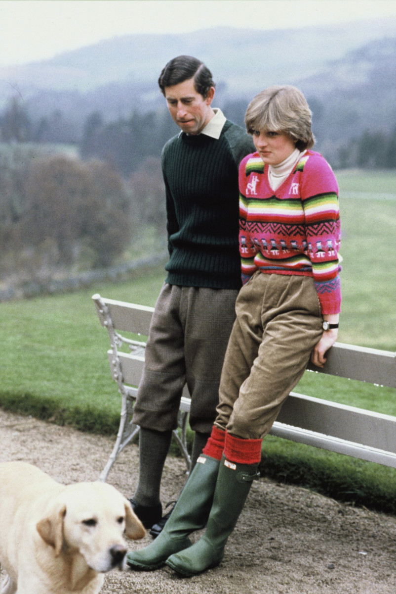 Lady Diana Spencer with Prince Charles in Scotland before their wedding. Photo: Anwar Hussein/WireImage