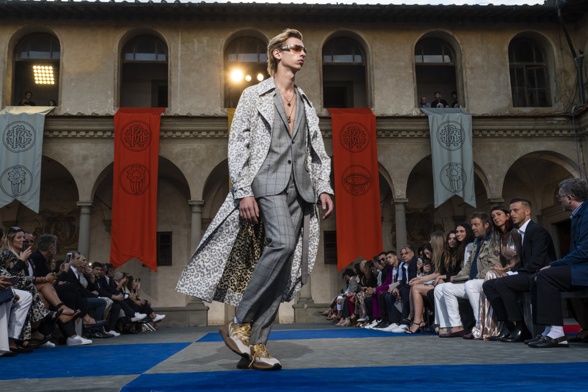 A look from Paul Surridge's debut menswear collection for Roberto Cavalli. Photo: Pietro D'aprano/WireImage