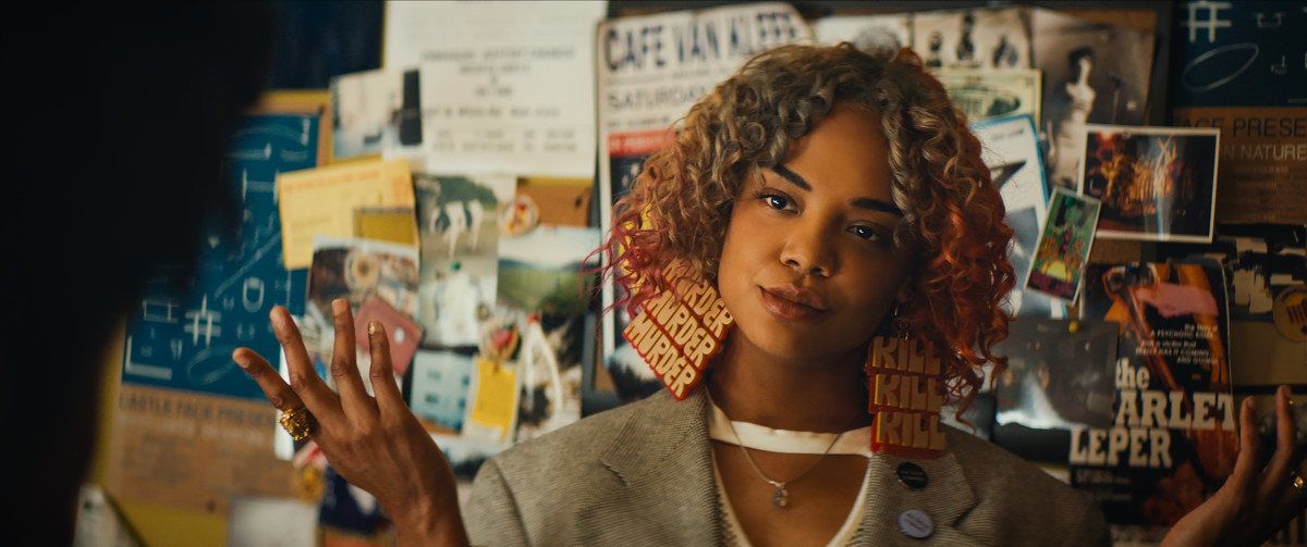 Detroit (Tessa Thompson) and her statement earrings. Photo: Annapurna Pictures