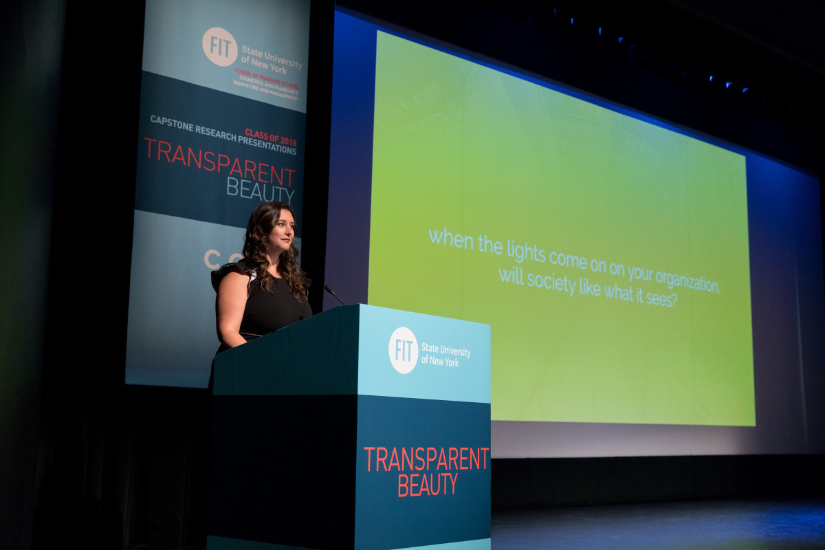 Jennifer Nuttall, global marketing director, Elizabeth Arden Fragrances/Revlon at the 2018 Capstone Research event on Transparent Beauty. Photo: Courtesy of FIT