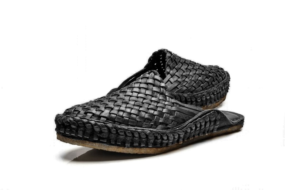 Iron-dyed city slippers, $170, available at Mohinders