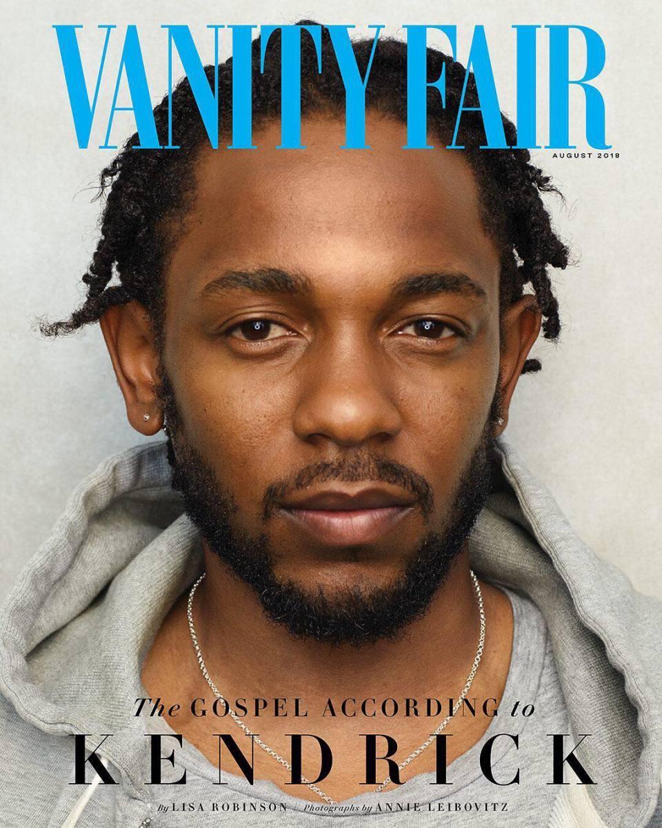 "Kendrick Lamar on the August cover of ""Vanity Fair."" Photo: Annie Leibovitz"