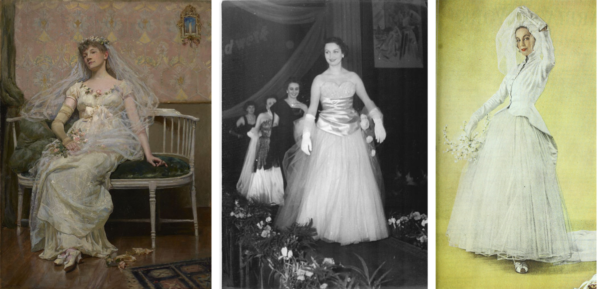 """[Left]: """"After the Reception"""" by Douglas Volk, 1887. Photo: Wikimedia Commons; [Middle]: German fashion show, 1954. Photo: Wikimedia Commons; [Right]: Schiaparelli wedding dress featured in Ladies' Home Journal, 1948. Photo: Wikimedia Commons"""