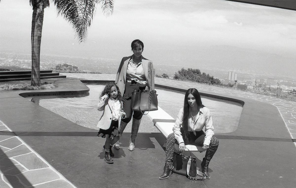 Kris Jenner, Kim Kardashian and North West. Photo: Courtesy of Fendi