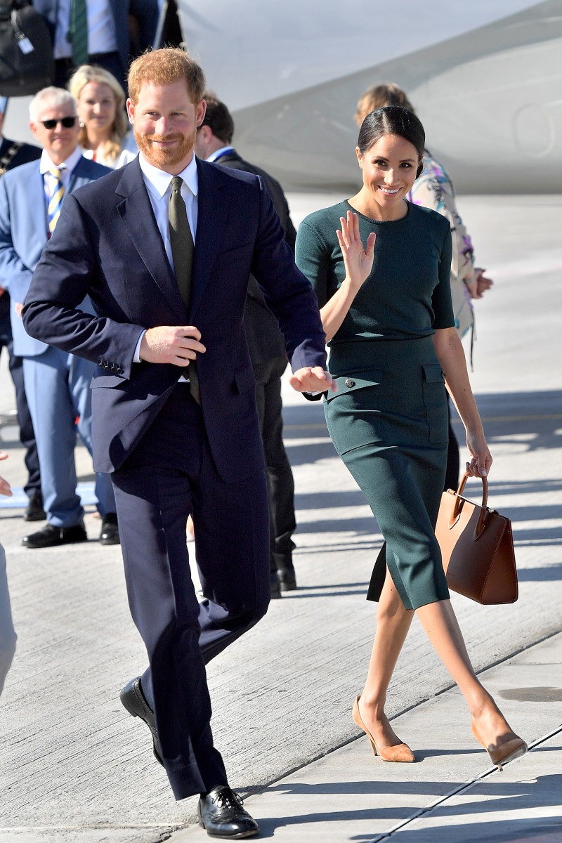 The Duke and Duchess of Sussex arrive at Dublin Airport for their visit to Ireland on Tuesday. Photo: Samir Hussein/WireImage