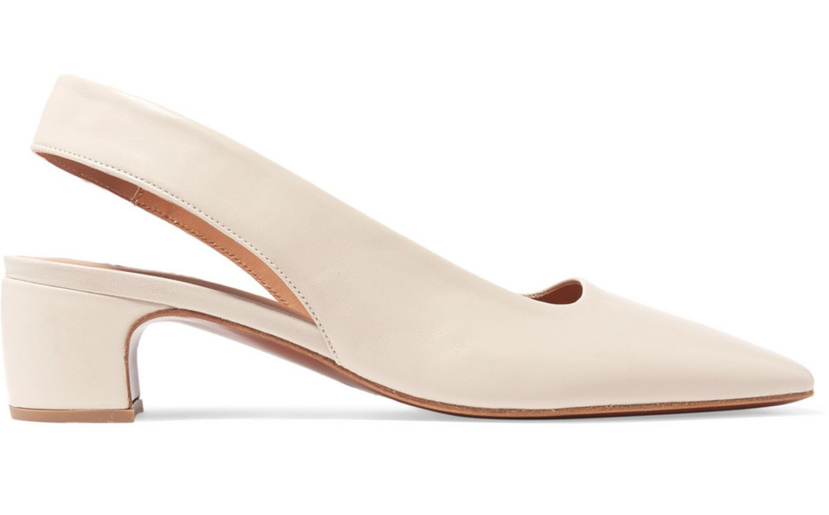 By Far Danielle leather slingback pumps, $415, available here.