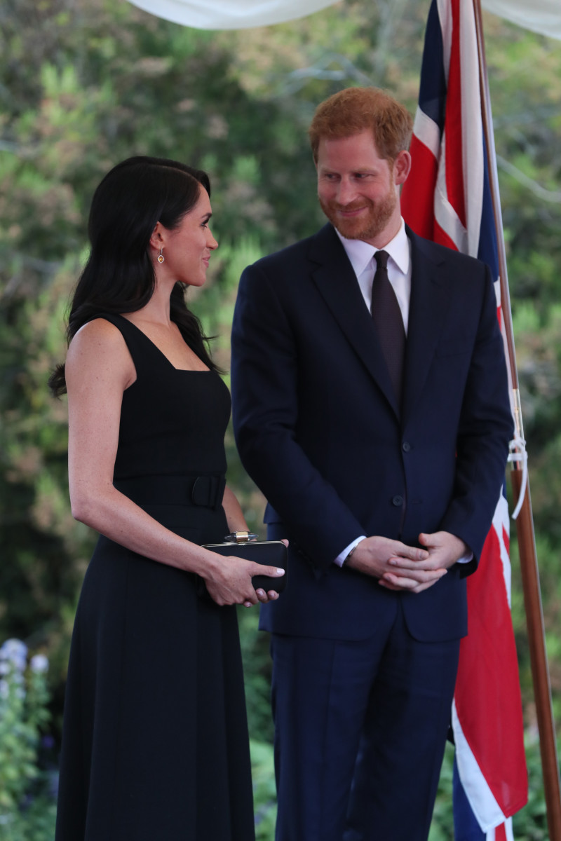 Meghan Markle and Prince Harry, the Duchess and Duke of Sussex, at a summer party at the British Ambassador's residence in Dublin, Ireland. Photo: Brian Lawless/AFP/Getty Images