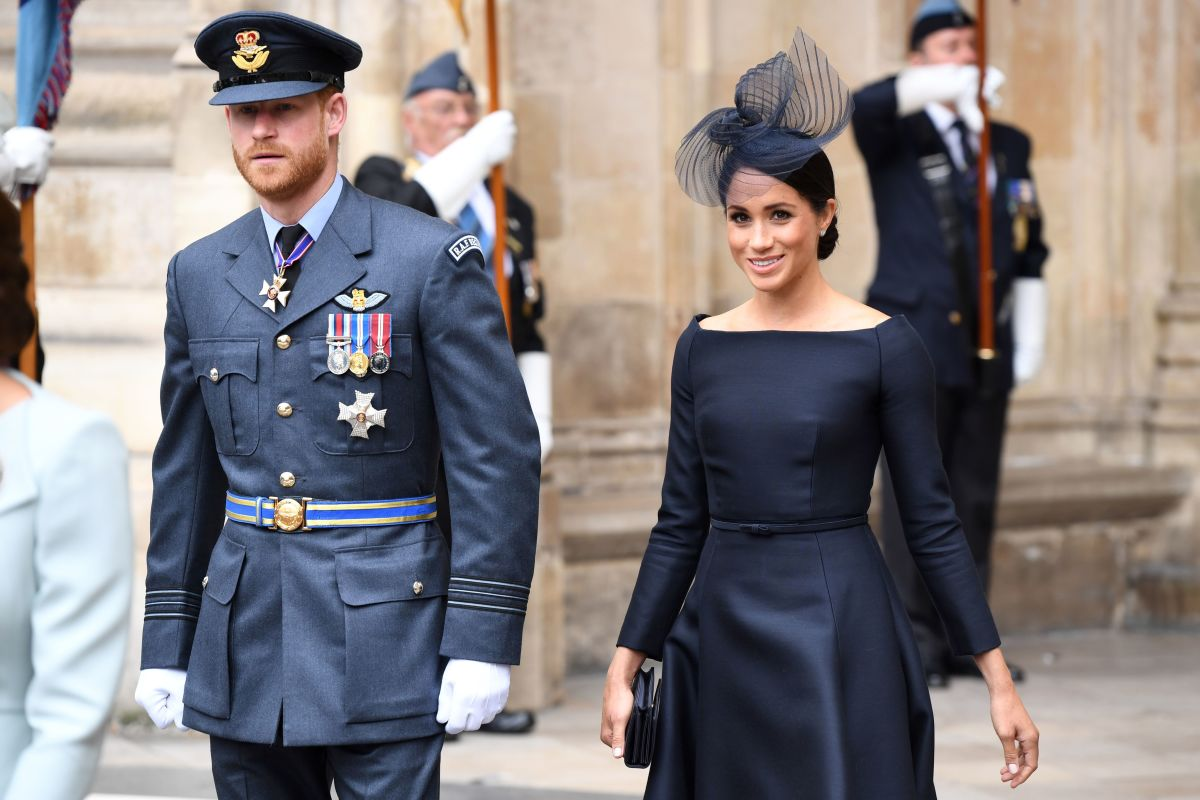 The Duke and Duchess of Sussex leave the RAF100 Service at Westminster Abbey on Tuesday. Photo: Chris J Ratcliffe/AFP/Getty Images